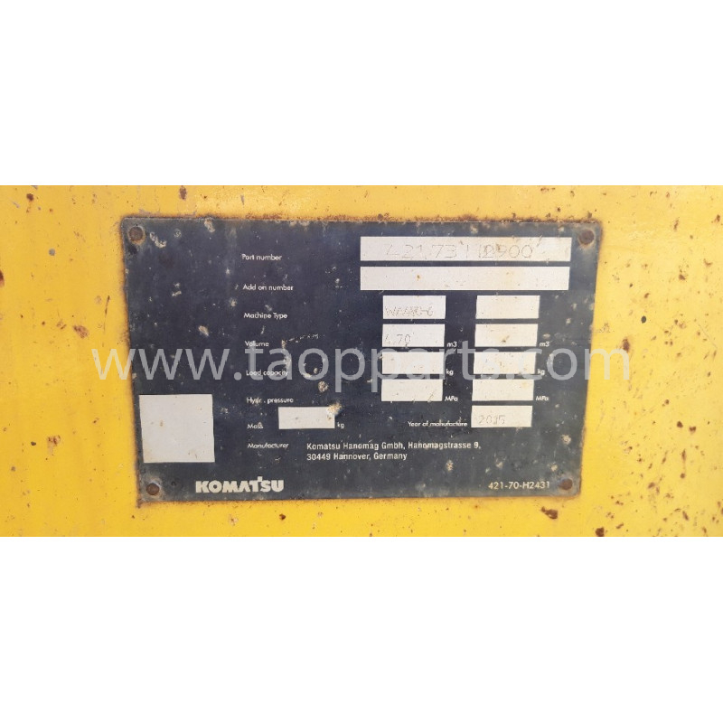 Komatsu Bucket 421-73-H2900 for WA480-6 · (SKU: 56986)