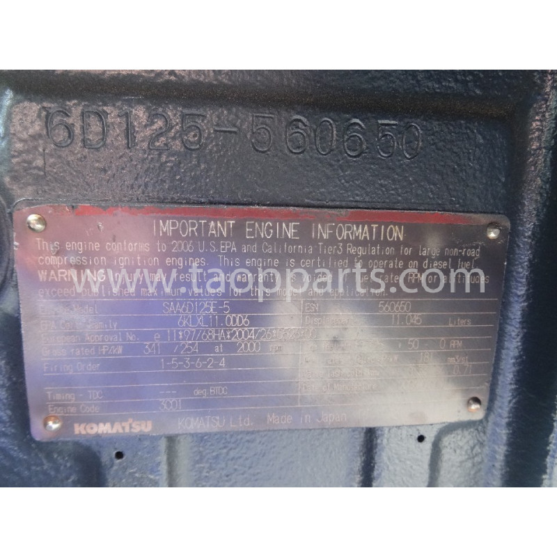 MOTOR Komatsu SAA6D125E-5 para HM300-2 · (SKU: 2962)
