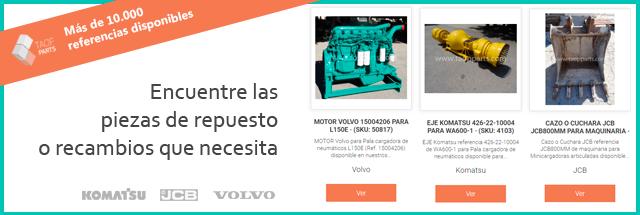 Piezas de repuesto excavadoras y cargadoras maquinaria Volvo, Komatsu y JCB